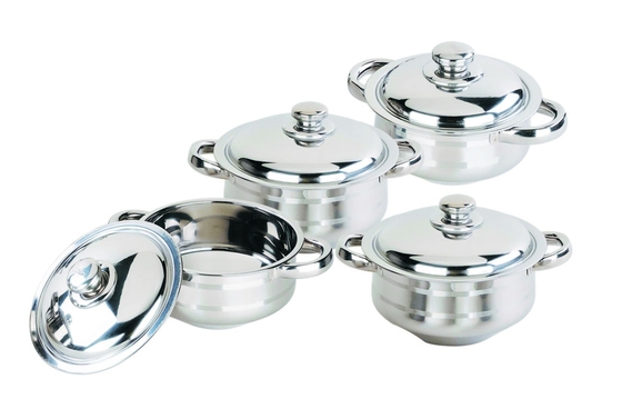 China Custom Stainless Steel Cookware Sets 0.5mm Thickness Full Mirror Polished supplier