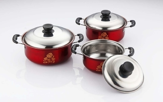 China Non Stick Stainless Steel Cookware Sets 6pcs Red Pot & Rose Flowers 16cm - 18cm - 20cm supplier