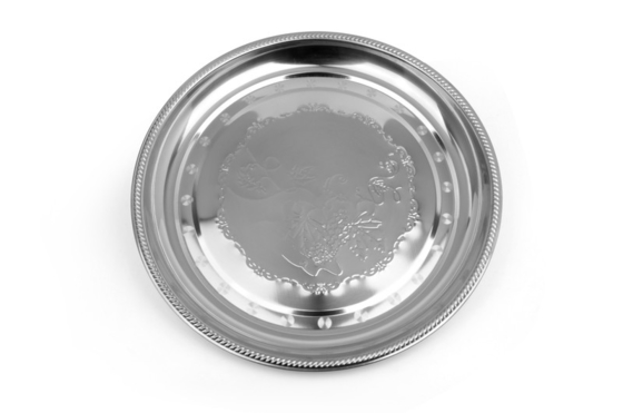 China Round Stainless Steel Drinks Tray , Food Grade Stainless Steel Oval Tray supplier