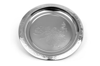 50CM Round Stainless Steel Serving Tray , Silver Color Stainless Steel Drinks Tray