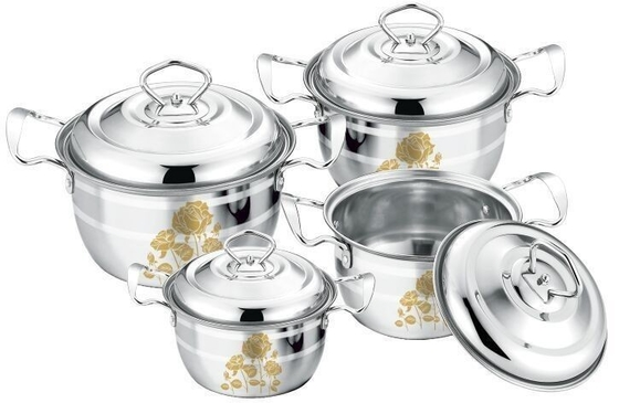 China High Polishing Kitchen Cookware Sets Stainless Steel Customized Logo With Lid supplier