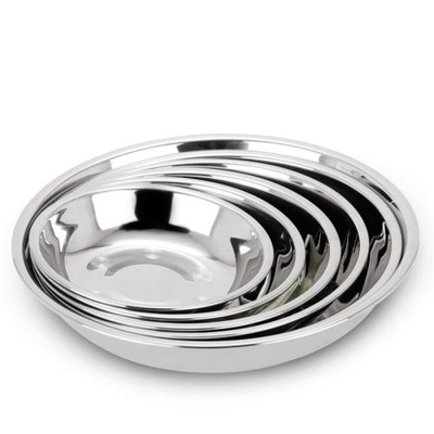 China Home Stainless Steel Round Tray Beautiful Stamp Round Serving Dish For  Food Fruit Dessert supplier