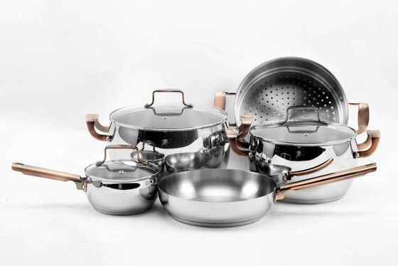 Full Mirror Polished Non Stick Cookware Set Food Grade Ss410 ECO - Friendly