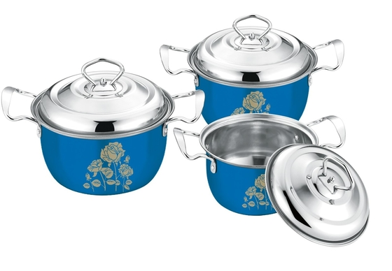 16 - 20cm Stainless Steel Pots And Pans Set High Polishing ECO - Friendly