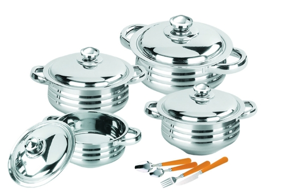 Eco - Friendly Stainless Steel Cooking Set , High Polishing Kitchen Pots And Pans