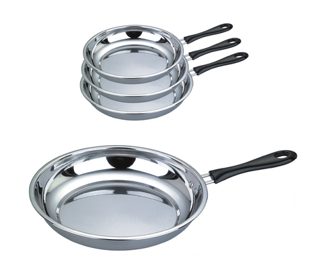 Food Grade 410 # Stainless Steel Non Stick Frying Pan Surface Mirror Polish