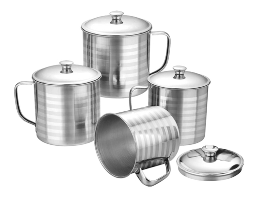 12oz 14oz 16oz Stainless Steel Mug Silver Color Outdoor Camping Coffee Cup