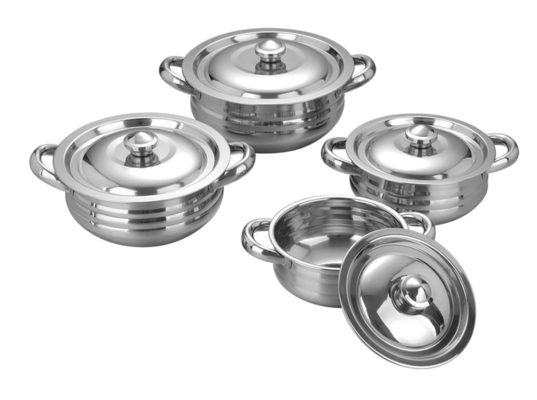 Mirror Finished Stainless Steel Pots And Pans Set , Stainless Steel Cooking Set