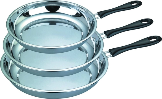 Household / Restaurant Stainless Steel Non Stick Frying Pan 0.55mm Thickness