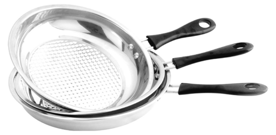Home Kitchen Stainless Steel Non Stick Frying Pan Set Strong And Immune To Rust