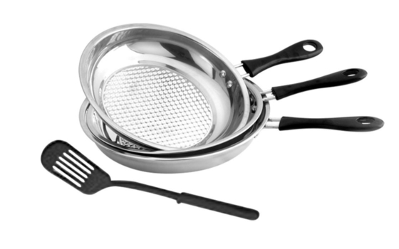 Round Stainless Steel Non Stick Frying Pan Set High Heat Efficiency ECO - Friendly