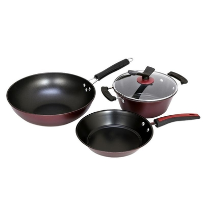 China Mirror Finished Non Stick Cookware Set Food Grade Stainless Steel With Handle factory