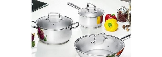 China Easy Cleaning Stainless Steel Non Stick Pan Set 0.5mm Thickness Durable factory