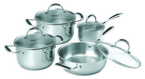 Stainless Steel Non Stick Cookware Set 16cm - 22cm Pot High Heat Efficiency