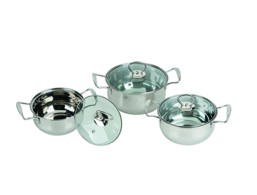 Stainless Steel Kitchen Cookware Sets 0.5mm Thickness Mirror Polish Inside And Outside