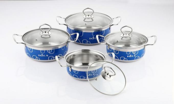 16cm 18cm 20cm 22cm  Stainless Steel Cooking Pot Non - Stick Durable And Easy Cleaning & blue red  color wtih glass cove